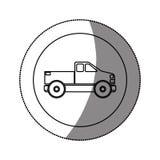 Κυκλική αυτοκόλλητη ετικέττα σκιαγραφιών με το φορτηγό Στοκ Φωτογραφίες