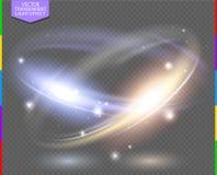 Κυκλική ελαφριά επίδραση φλογών φακών transparennt Αφηρημένη διαγώνια διαφάνεια έλλειψης με το πρόσθετο σχήμα μόνο Στοκ Εικόνες