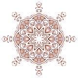 Κυκλική floral Henna Mehndi διακοσμήσεων δερματοστιξία Mandala, Yantra καφετί Στοκ Εικόνα