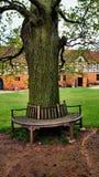 Κυκλικοί πάγκος και κτήριο Tudor Στοκ Φωτογραφία