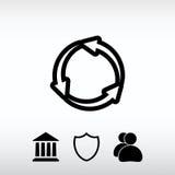 Κυκλικό εικονίδιο βελών, διανυσματική απεικόνιση Επίπεδο ύφος σχεδίου Στοκ Εικόνες