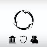 Κυκλικό εικονίδιο βελών, διανυσματική απεικόνιση Επίπεδο ύφος σχεδίου Στοκ εικόνα με δικαίωμα ελεύθερης χρήσης