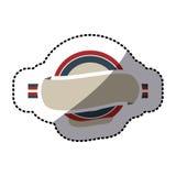 κυκλικό πλαίσιο αυτοκόλλητων ετικεττών με τη σημαία Ηνωμένο Βασίλειο χρώματος και την ετικέτα διανυσματική απεικόνιση