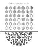 Κυκλικό σύνολο σχεδίων παραδοσιακών μοτίβων και αρχαίων ασιατικών διακοσμήσεων Στοκ Εικόνες