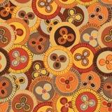 Κυκλικό, φυλετικό σχέδιο στους γήινους τόνους με τα μοτίβα των αφρικανικών φυλών Surma και Mursi Στοκ Φωτογραφίες