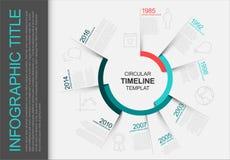 Κυκλικό infographic πρότυπο υπόδειξης ως προς το χρόνο Στοκ Εικόνα