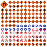 Κυκλοφορίας καθορισμένη διανυσματική απεικόνιση οδικών σημαδιών σημαδιών πορτοκαλιά μπλε Στοκ φωτογραφία με δικαίωμα ελεύθερης χρήσης
