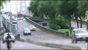 Κυκλοφορία αυτοκινήτων ελεύθερου χρόνου στη γέφυρα στην Ταϊβάν, Ταϊπέι απόθεμα βίντεο