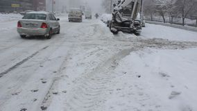 Κυκλοφορία που επιβραδύνεται από το χιόνι φιλμ μικρού μήκους