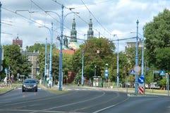Κυκλοφορία στην οδό Mostowa στο Πόζναν, Πολωνία Στοκ φωτογραφία με δικαίωμα ελεύθερης χρήσης
