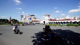 Κυκλοφορία στην περιοχή 1 της αγοράς του Ben Thanh απόθεμα βίντεο
