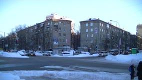 Κυκλοφορία χειμερινών πόλεων χρόνος-σφάλμα της Μόσχας, Ρωσία απόθεμα βίντεο