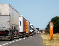 Κυκλοφοριακή συμφόρηση Γαλλία φορτηγών στοκ εικόνες με δικαίωμα ελεύθερης χρήσης