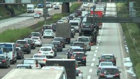 Κυκλοφοριακή συμφόρηση στη γερμανική εθνική οδό A5 απόθεμα βίντεο