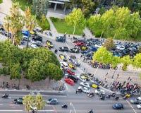 Κυκλοφοριακή συμφόρηση στη διαγώνιος Avinguda στην πόλη της Βαρκελώνης Στοκ Εικόνα