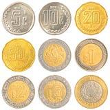 Κυκλοφορώντας νομίσματα του Μεξικού Στοκ φωτογραφία με δικαίωμα ελεύθερης χρήσης