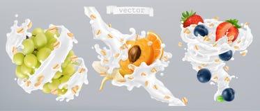Κυλημένοι βρώμες, φρούτα και παφλασμοί γάλακτος τρισδιάστατο διάνυσμα ε&iot διανυσματική απεικόνιση