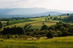 Κυλώντας λόφοι σε Caparde, Βοσνία στοκ φωτογραφία
