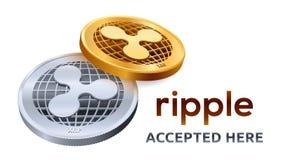 κυμάτωση Αποδεκτό έμβλημα σημαδιών Crypto νόμισμα Χρυσά και ασημένια νομίσματα με το σύμβολο κυματισμών που απομονώνεται στο άσπρ διανυσματική απεικόνιση