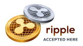 κυμάτωση Αποδεκτό έμβλημα σημαδιών Crypto νόμισμα Χρυσά και ασημένια νομίσματα με το σύμβολο κυματισμών που απομονώνεται στο άσπρ απεικόνιση αποθεμάτων