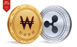 κυμάτωση κερδημένος τρισδιάστατα isometric φυσικά νομίσματα Η Κορέα κέρδισε το νόμισμα με το κείμενο στην κορεατική τράπεζα της Κ ελεύθερη απεικόνιση δικαιώματος