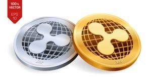 κυμάτωση τρισδιάστατα isometric φυσικά νομίσματα Ψηφιακό νόμισμα Crypto νόμισμα Χρυσά και ασημένια νομίσματα με το σύμβολο κυματι διανυσματική απεικόνιση