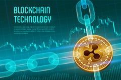 κυμάτωση Crypto νόμισμα Αλυσίδα φραγμών τρισδιάστατο isometric φυσικό χρυσό bitcoin με την αλυσίδα wireframe στο μπλε οικονομικό  ελεύθερη απεικόνιση δικαιώματος
