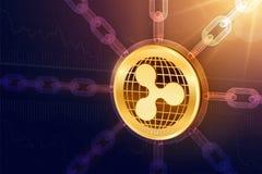 κυμάτωση Crypto νόμισμα Αλυσίδα φραγμών τρισδιάστατο isometric φυσικό νόμισμα κυματισμών με την αλυσίδα wireframe Έννοια Blockcha ελεύθερη απεικόνιση δικαιώματος