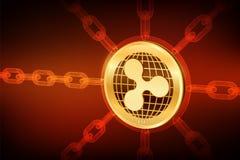 κυμάτωση Crypto νόμισμα Αλυσίδα φραγμών τρισδιάστατο isometric φυσικό νόμισμα κυματισμών με την αλυσίδα wireframe Έννοια Blockcha απεικόνιση αποθεμάτων