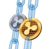 κυμάτωση Cryptocurrency Blockchain Χρυσά και ασημένια νομίσματα κυματισμών με την αλυσίδα wireframe τρισδιάστατα isometric φυσικά διανυσματική απεικόνιση