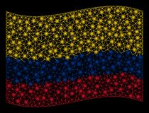 Κυματίζοντας απεικόνιση πλέγματος σημαιών της Κολομβίας με την ελαφρ απεικόνιση αποθεμάτων