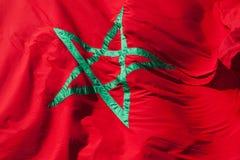 Κυματίζοντας εθνική σημαία του Μαρόκου Στοκ Εικόνα