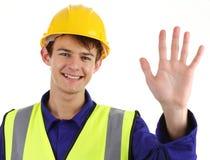κυματίζοντας εργαζόμενος κατασκευής Στοκ Εικόνα
