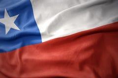 Κυματίζοντας ζωηρόχρωμη σημαία της Χιλής Στοκ Εικόνες