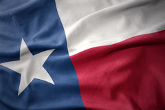 Κυματίζοντας ζωηρόχρωμη σημαία του κράτους του Τέξας Στοκ εικόνα με δικαίωμα ελεύθερης χρήσης