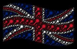 Κυματίζοντας κολάζ βρετανικών σημαιών των μαγικών εικονιδίων εργαλείων ράβδων απεικόνιση αποθεμάτων