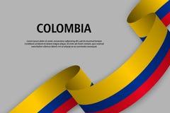 Κυματίζοντας κορδέλλα με τη σημαία της Κολομβίας ελεύθερη απεικόνιση δικαιώματος