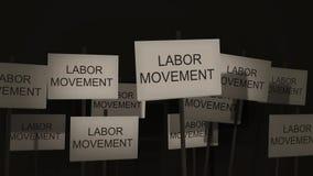 Κυματίζοντας σημάδια της σειράς διαμαρτυρίας ή συνειδητοποίησης - εργατικό κίνημα απόθεμα βίντεο