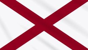 Κυματίζοντας σημαία κρατικών σημαιών της Αλαμπάμα, ιδανική για το υπόβαθρο φιλμ μικρού μήκους