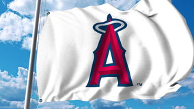 Κυματίζοντας σημαία με τους Los Angeles Angels του επαγγελματικού λογότυπου ομάδων του Αναχάιμ Εκδοτική τρισδιάστατη απόδοση Στοκ εικόνα με δικαίωμα ελεύθερης χρήσης