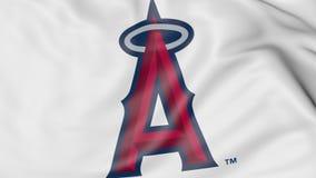 Κυματίζοντας σημαία με τους Los Angeles Angels του λογότυπου ομάδων μπέιζμπολ του Αναχάιμ MLB, τρισδιάστατη απόδοση Στοκ Φωτογραφίες
