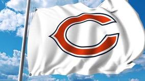 Κυματίζοντας σημαία με το επαγγελματικό λογότυπο ομάδων των Chicago Bears Εκδοτική τρισδιάστατη απόδοση απεικόνιση αποθεμάτων