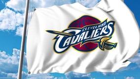 Κυματίζοντας σημαία με το επαγγελματικό λογότυπο ομάδων των Cleveland Cavaliers Εκδοτική τρισδιάστατη απόδοση ελεύθερη απεικόνιση δικαιώματος