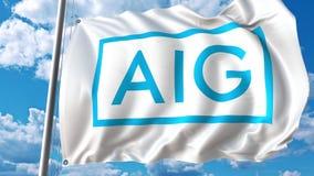 Κυματίζοντας σημαία με το λογότυπο της American International Group Τρισδιάστατη απόδοση Editoial διανυσματική απεικόνιση