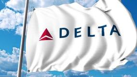 Κυματίζοντας σημαία με το λογότυπο της Delta Air Lines τρισδιάστατη απόδοση Στοκ Φωτογραφίες