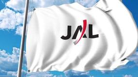 Κυματίζοντας σημαία με το λογότυπο της Japan Airlines τρισδιάστατη απόδοση Στοκ εικόνες με δικαίωμα ελεύθερης χρήσης