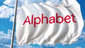 Κυματίζοντας σημαία με Alphabet Inc το λογότυπο Τρισδιάστατη απόδοση Editoial απεικόνιση αποθεμάτων