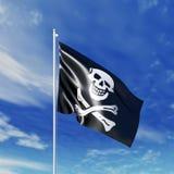 Κυματίζοντας σημαία πειρατείας Στοκ φωτογραφία με δικαίωμα ελεύθερης χρήσης