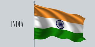 Κυματίζοντας σημαία της Ινδίας στη διανυσματική απεικόνιση κονταριών σημαίας απεικόνιση αποθεμάτων