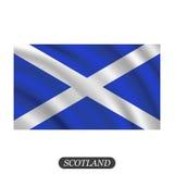 Κυματίζοντας σημαία της Σκωτίας σε ένα άσπρο υπόβαθρο επίσης corel σύρετε το διάνυσμα απεικόνισης διανυσματική απεικόνιση